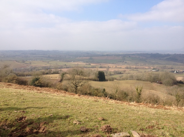 The view from the hill above Trealy Farm